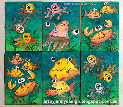 Creatures Under the Sea - Art Trading Cards by Jenny using Dylusions and Darkroom Door stamps