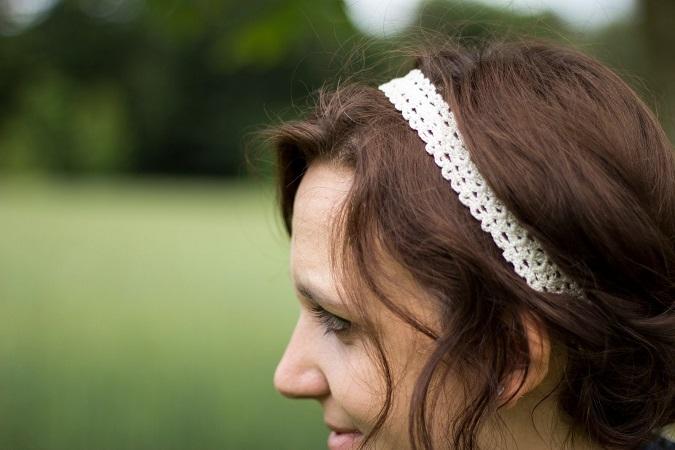 free pattern - diy crochet headband hairband - Kostenlose Anleitung für ein gehäkeltes Haarband aus dünnem Baumwollgarn