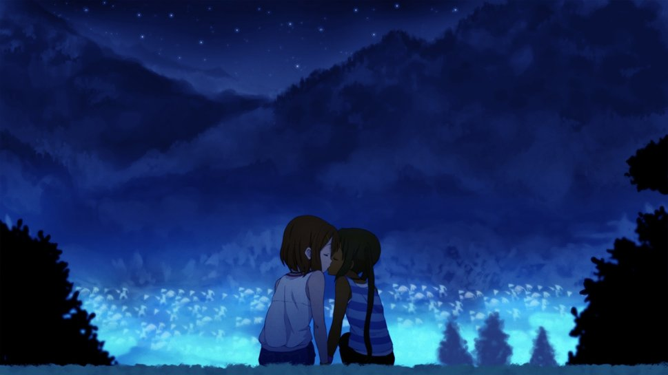 Romance anime love couple kissing images hd - Wallpaper hd anime boy ...