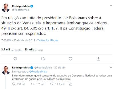 Twitte Rodrigo Maia em resposta a Bolsonaro
