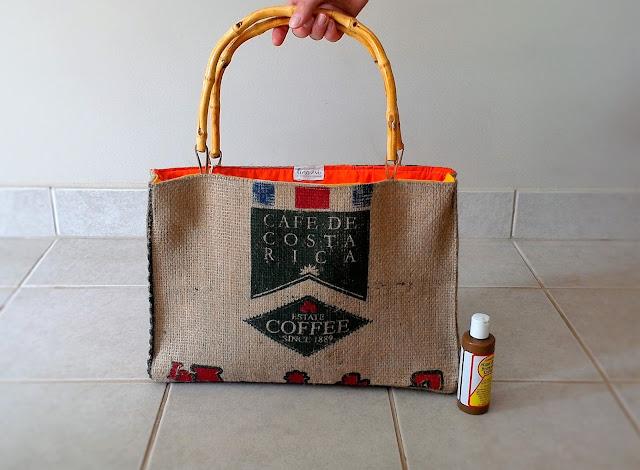 Costa Rica burlap beach bag - tote handmade by Lina and Vi in Plymouth MI - shop www.linaandvi.etsy.com