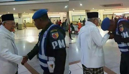 Hormat dan Cinta Ulama, Prajurit TNI Ini Cium Tangan Ketum MUI KH Ma'ruf Amin