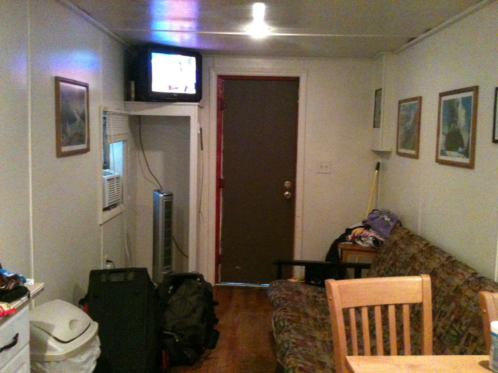 Living Room Area - Caboose Camping at the Mt. Pleasant (Charleston) SC - KOA