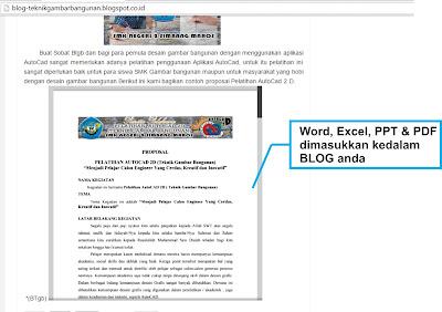 Memasukan File Word, Excel, PPT dan PDF Ke Dalam Postingan Blog