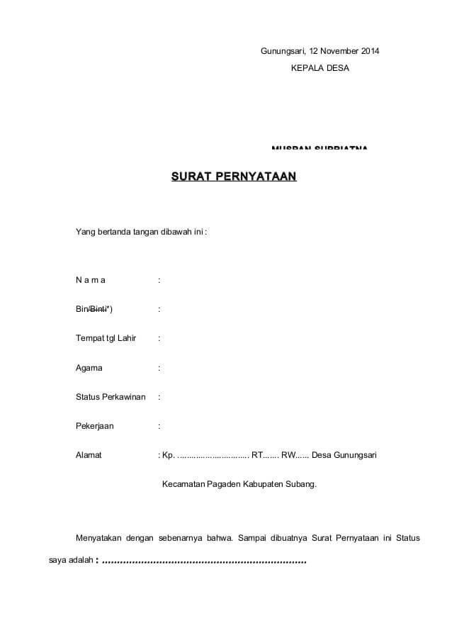 Contoh Surat Keterangan Bujangan