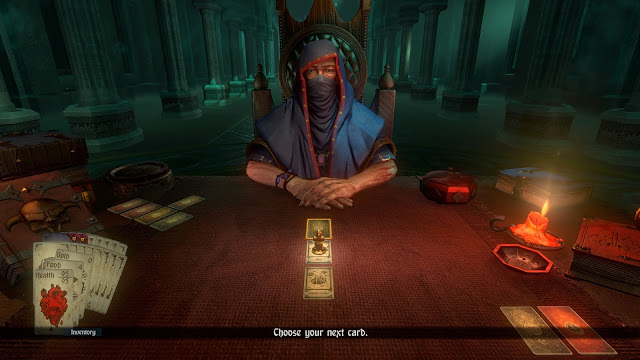 Screenshot of the Dealer from Hand of Fate