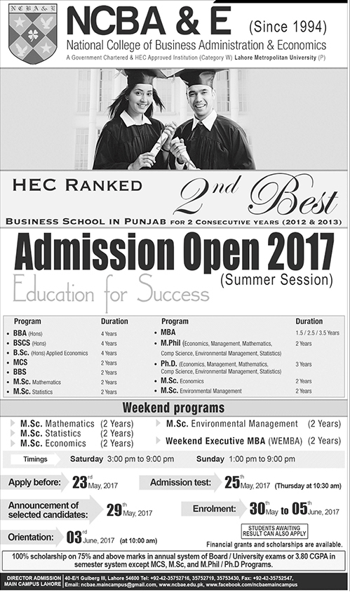 Summer Session Admission in National College of Business Administration & Economics NCBA&E May 2017