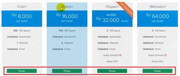 pilihan paket web hosting