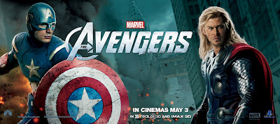 The Avengers International Movie Banners - Chris Evans as Captain America & Chris Hemsworth as Thor