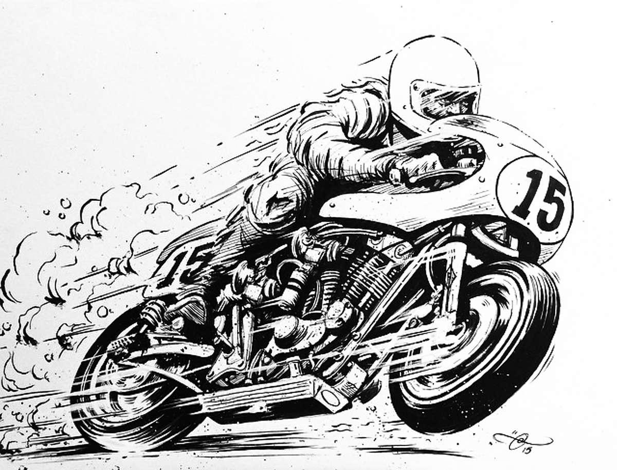 motorbike sex black and white