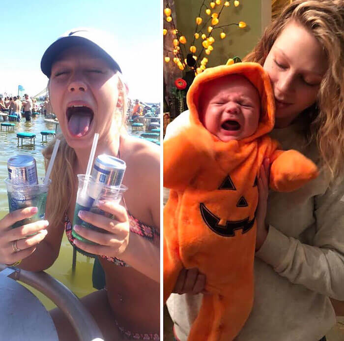 30 Fascinating Pictures of Parents Before And After Having Children