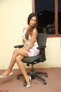 Nishi Ganda stunning cute in Flower Print short dress at Tick Tack Movie Press Meet March 2017 266.JPG