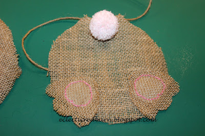 Eclectic Red Barn: Adding pink thread to feet on bunny