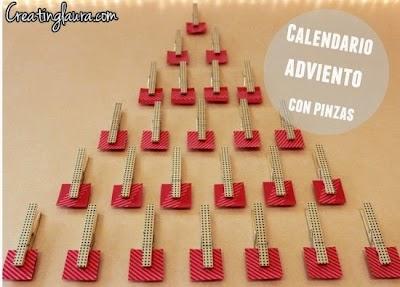 Calendario de Adviento de notas de amor y con Pinzas