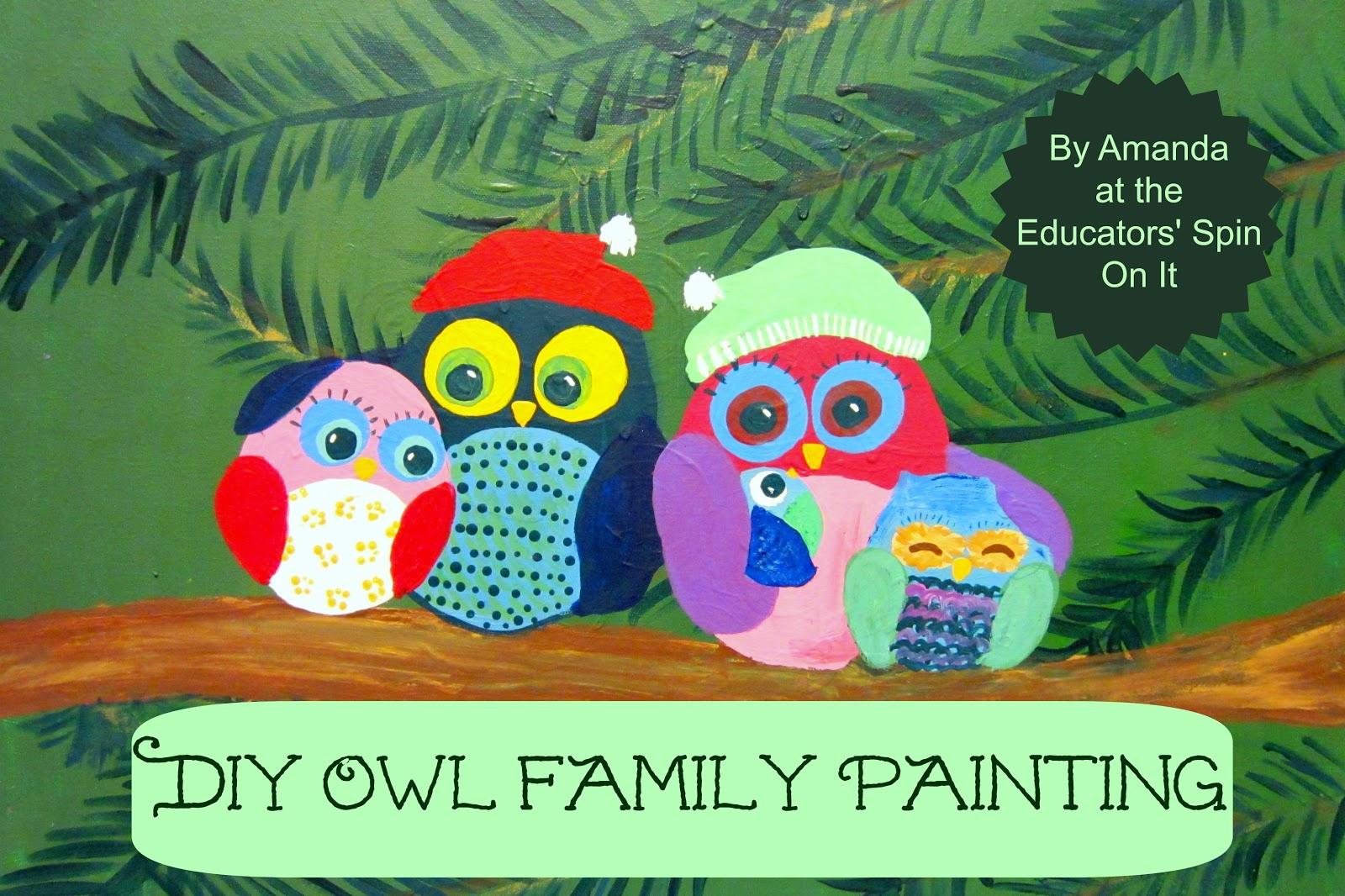 DIY Christmas Owl Family Painting