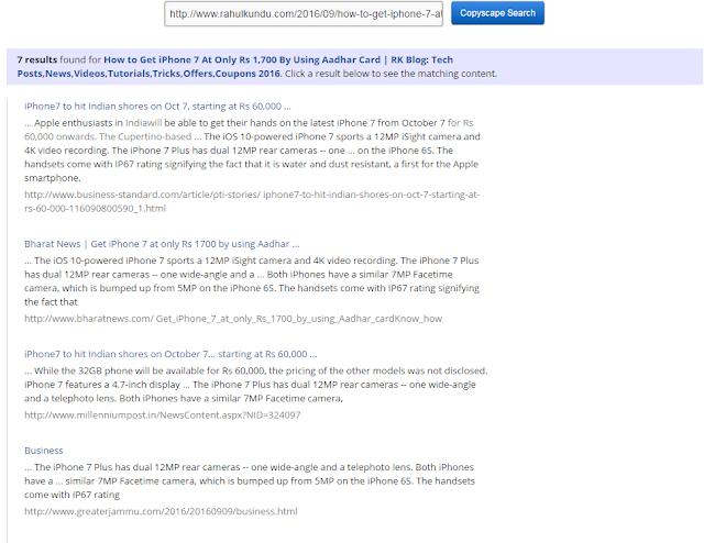 Copyscape Copied Content Search Results