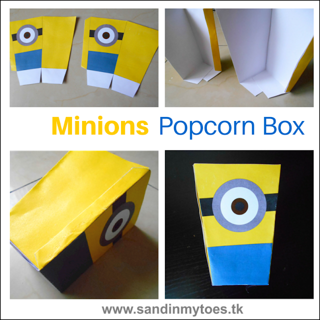 Minions-inspired popcorn box you can make with a free printable template.
