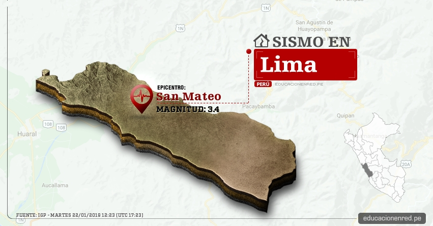 Temblor en Lima de Magnitud 3.4 (Hoy Martes 22 Enero 2019) Sismo Epicentro San Mateo - Huarochiri - IGP - www.igp.gob.pe