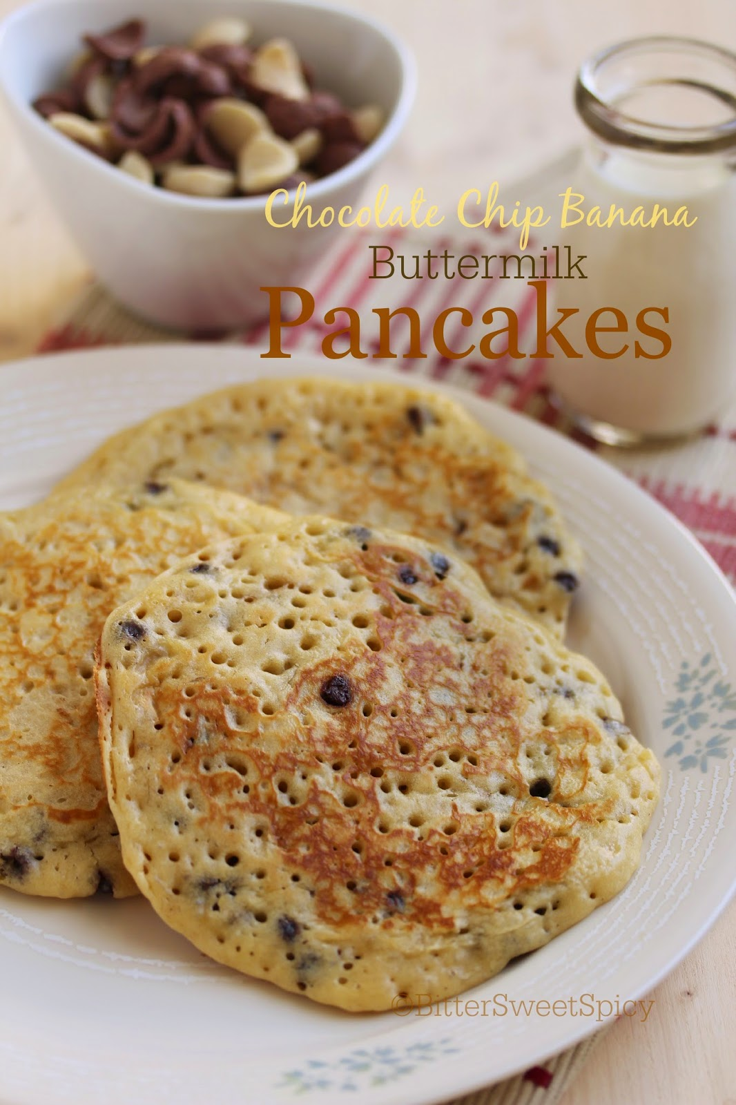 Bittersweetspicy chocolate chip banana buttermilk pancakes this morning i was inspired to whip up some homemade chocolate banana pancakes so i searched for a recipe decided to use one from food network forumfinder Choice Image