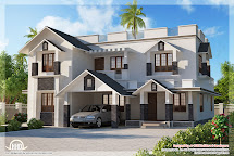 4 Bedroom Sloping Roof House Design Plans