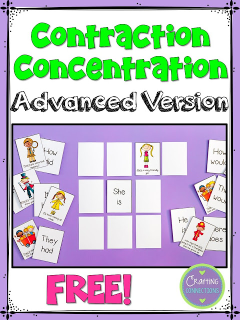 Contraction Concentration- a FREE game! This advanced version of the game was designed for upper elementary students.