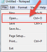 how to Open file notepad