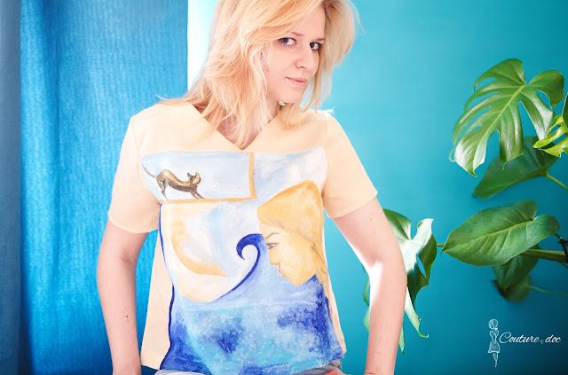 malowany obraz na bluzce