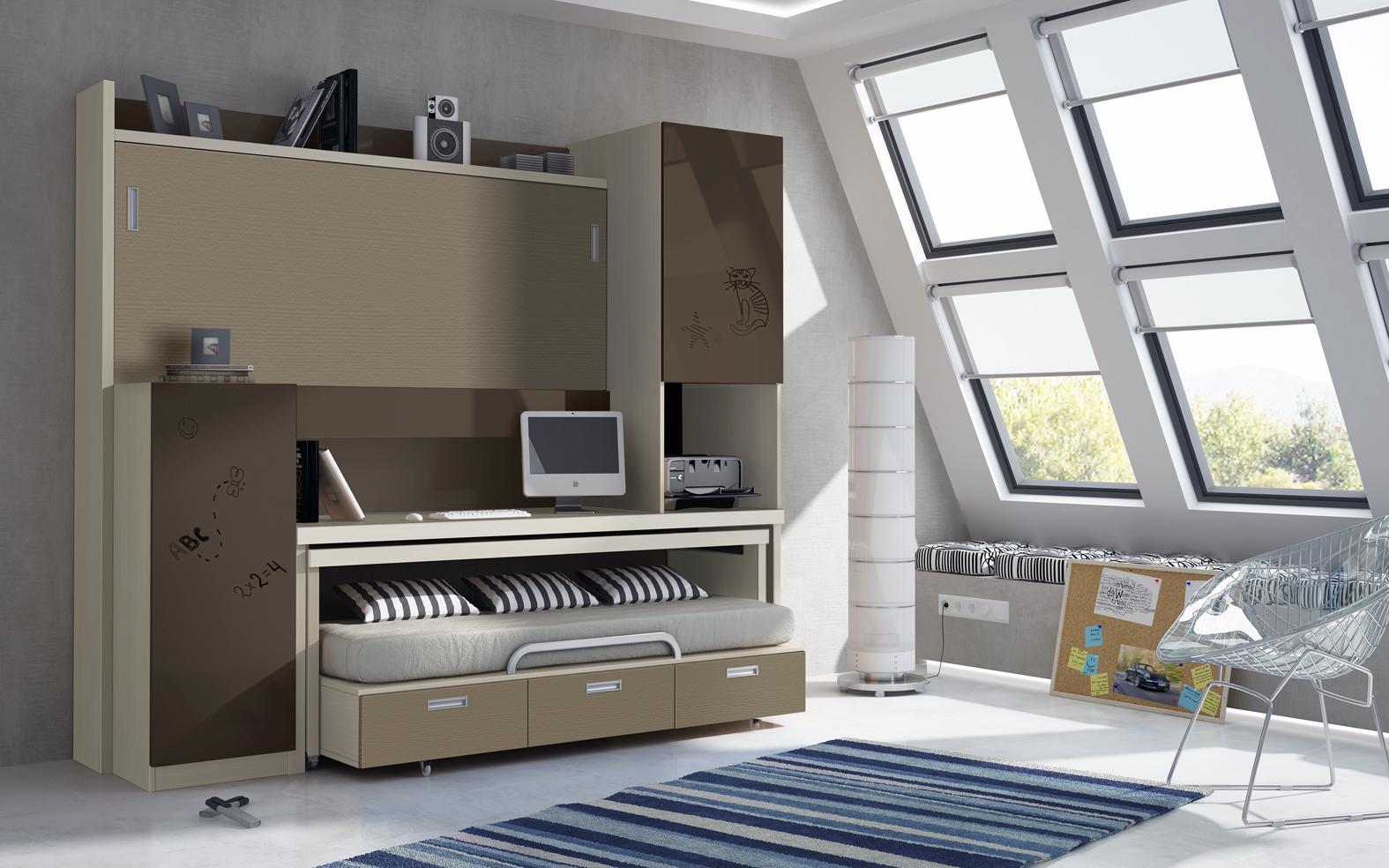 Cama autoportante con cama con ruedas y cajones y mesa de - Camas muebles abatibles ...