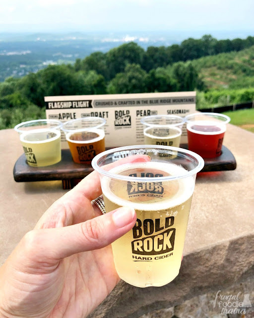 Head to the lower deck around back for a flight of crisp hard ciders made from locally sourced apples from Carter Mountain's orchards. Sample seasonal favorites like their Blackberry & Pear ciders while enjoying amazing views of Charlottesville from the top of the mountain.