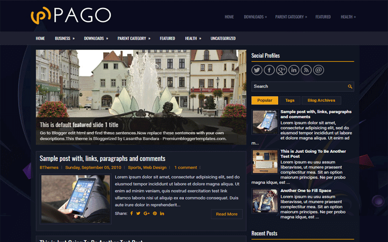 Pago Free Blogger Template
