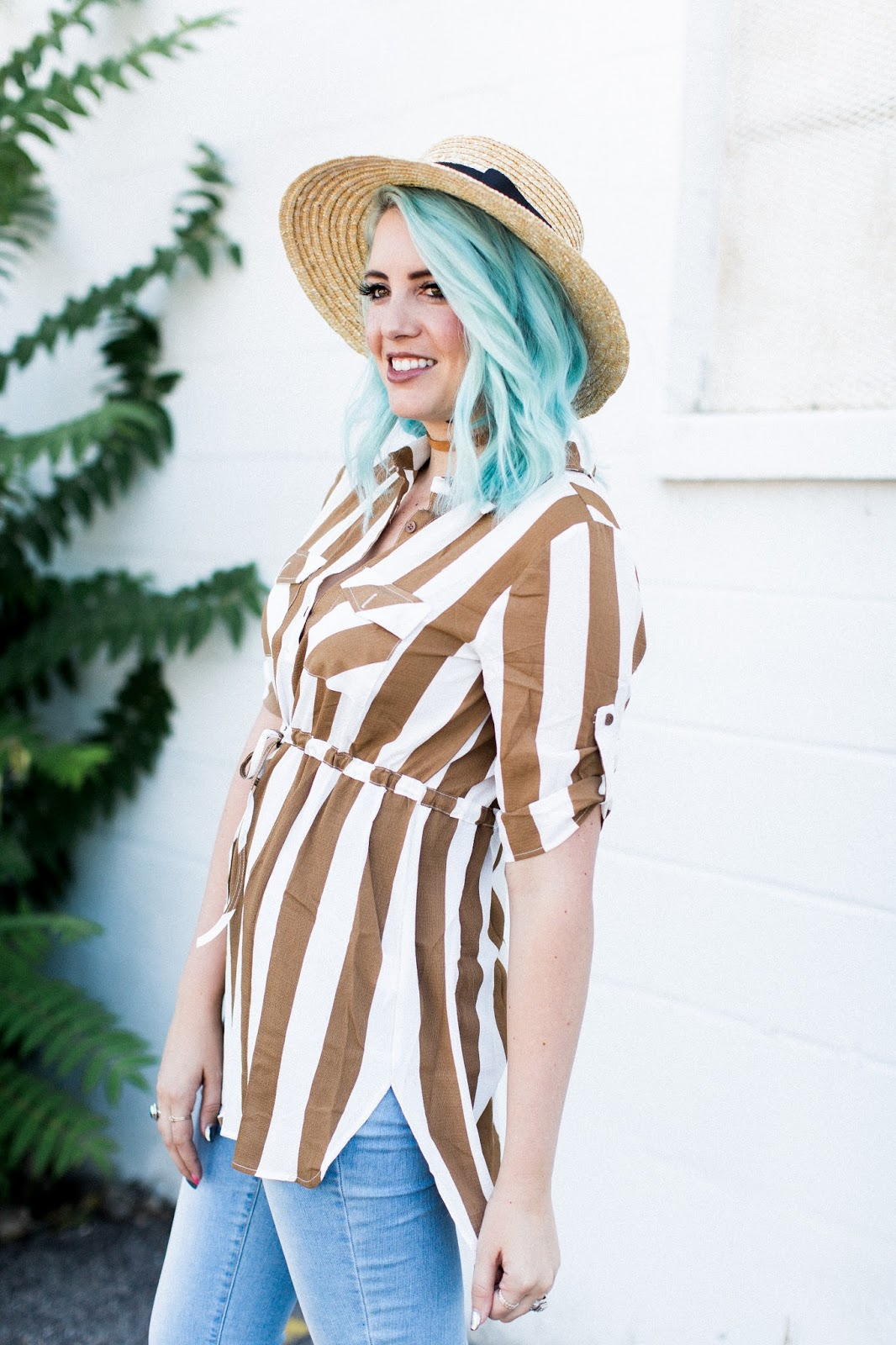 stripes, blue hair, fall outfit