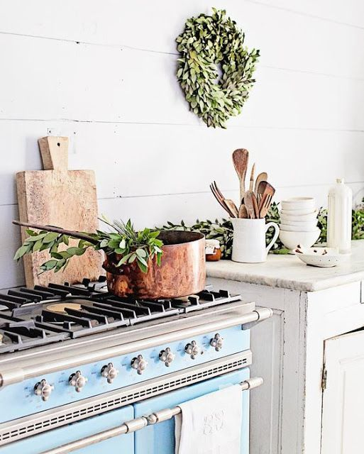 French farmhouse style kitchen with blue lacanche range and #shiplap walls #Dreamywhites