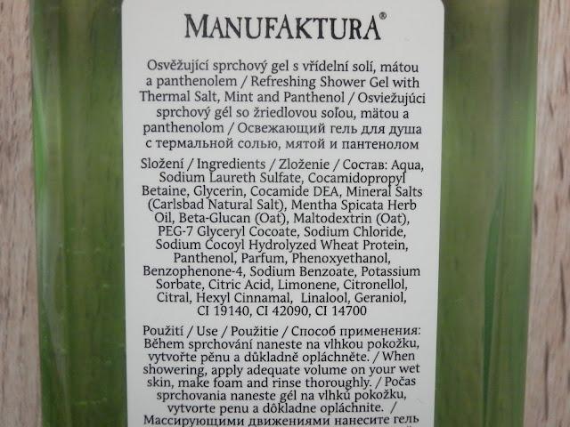 mátový sprchový gel, manufaktura recenze