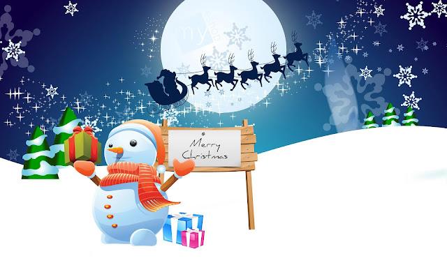 3D sneeuwpop, de kerstman met slee en rendieren