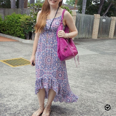 awayfromtheblue instagram | Jeanswest Sophia high-low maxi dress summer dinner outfit with magenta pink Balenciaga bag