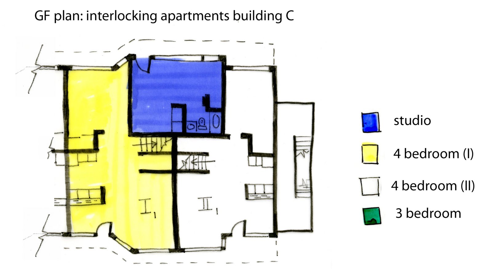 A Variety Of Apartment Configurations Make Up The 6 Buildings One Primary Arrangements Is Illustrated Below