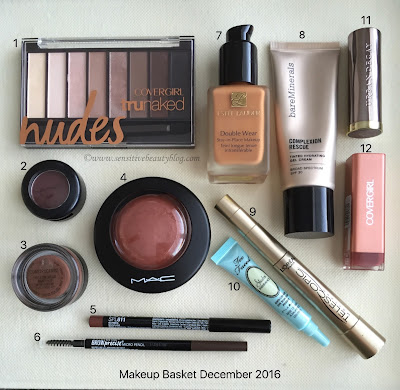 Makeup basked with swatches