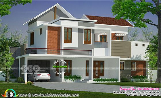 3141 square feet modern mixed roof house