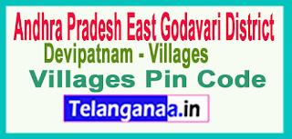 East Godavari District Devipatnam Mandal and Villages Pin Codes in Andhra Pradesh State