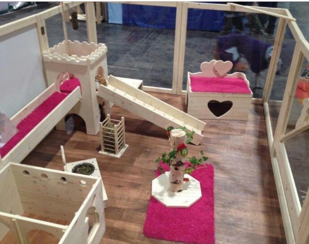 Housing your pet rabbit indoor rabbit playpens rabbit for Indoor pig pen ideas