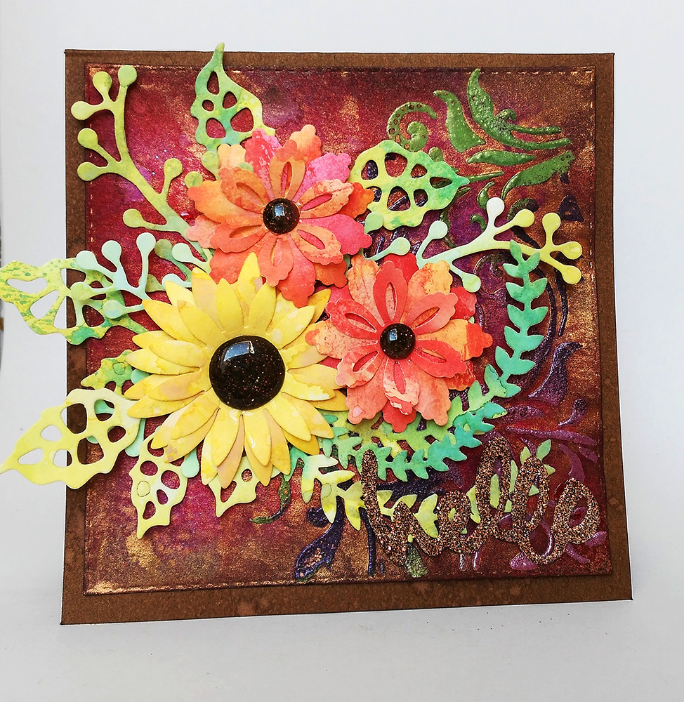 Greeting Card With Paper Flowers By Susanne