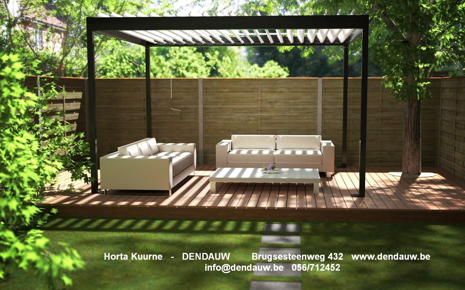Horta dendauw kuurne vrijstaande pergola in aluminium met roteerbare daklamellen azore - Pergola met intrekbaar canvas ...