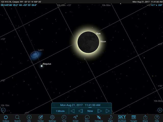Sky Safari Pro screenshot adjusted for camera field of view in Casper, WY (Source: Palmia Observatory)