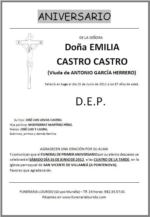 Lourido Esquela Aniversario Emilia Castro Castro Viuda De Antonio