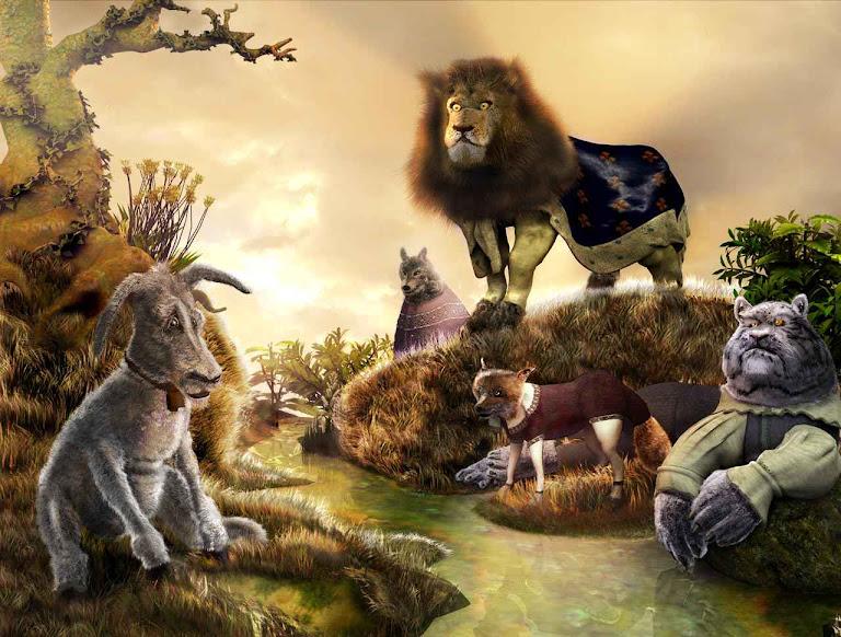 O leão condena o burro por uma falta mínima.