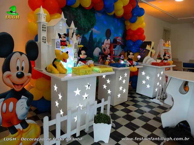 Decoração de mesa de aniversário Mickey Mouse - Provençal simples