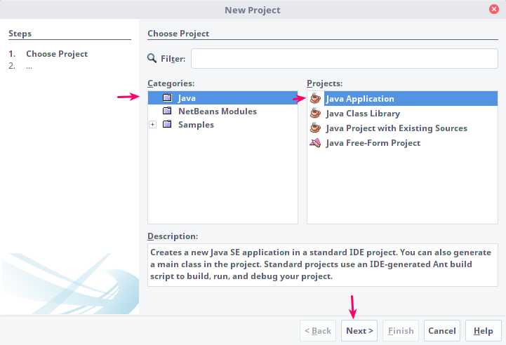 Making New Projects in Netbeans