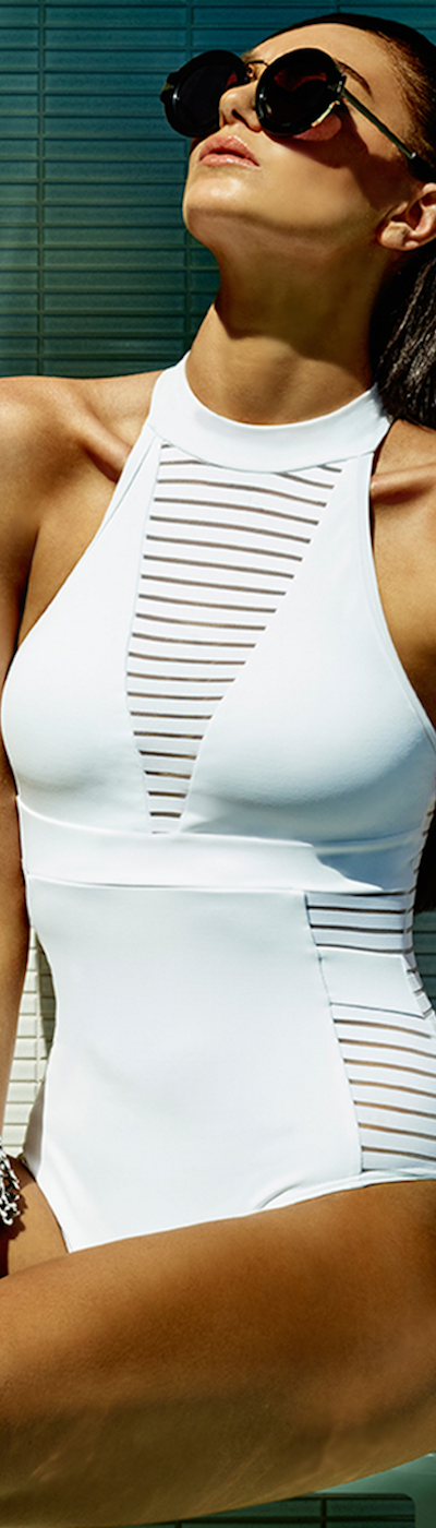 Jets Swimwear Illuminate High Neck White Swimsuit