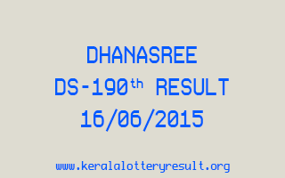 DHANASREE DS 190 Lottery Result 16-6-2015