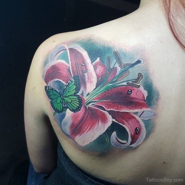Butterfly and lily tattoos